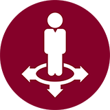 Icon of a student standing in a circle with three arrows pointing in different directions.