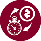 Icon of a watch (save time) and dollar sign (save money).