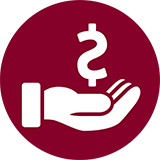 Icon of hand holding a dollar sign.