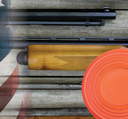 shotguns and clay pigeons laying on a table