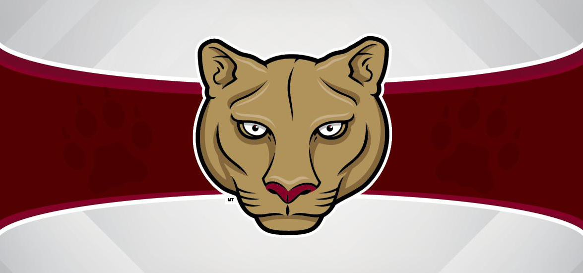 Mid-State Technical College cougar mascot head over maroon and white background